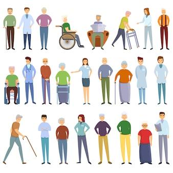 Conjunto de iconos de hogar de ancianos, estilo de dibujos animados