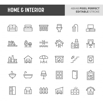 Conjunto de iconos de hogar e interior