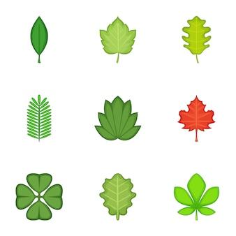 Conjunto de iconos de hojas, estilo de dibujos animados