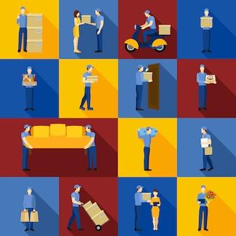Conjunto de iconos de hombre de entrega