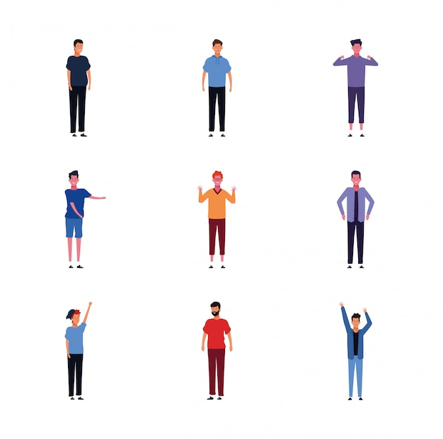 Conjunto de iconos de hombres con ropa casual