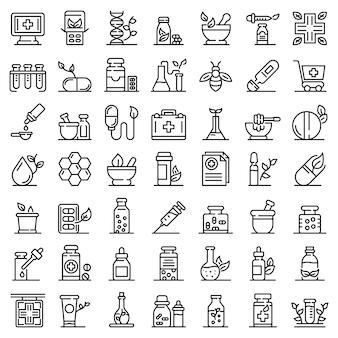 Conjunto de iconos de homeopatía, estilo de contorno