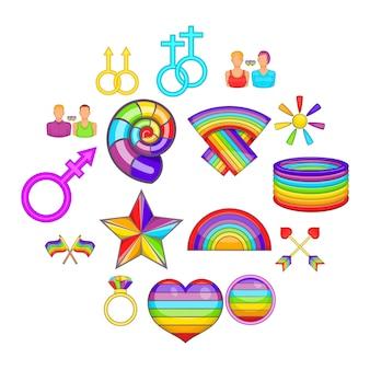 Conjunto de iconos homosexuales, estilo de dibujos animados