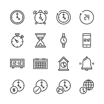Conjunto de iconos de hora y reloj