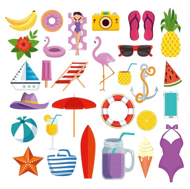 Conjunto de iconos de horario de verano con frutas tropicales y vacaciones exóticas