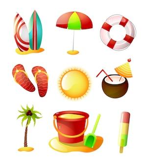 Conjunto de iconos de horario de verano, playa de arena caliente