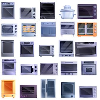 Conjunto de iconos de horno de convección, estilo de dibujos animados