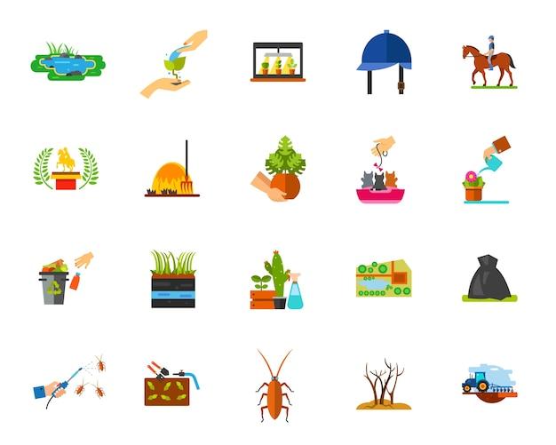 Conjunto de iconos de horticultura