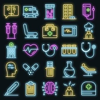 Conjunto de iconos de hospital mental. esquema conjunto de iconos de vector de hospital mental color neón en negro
