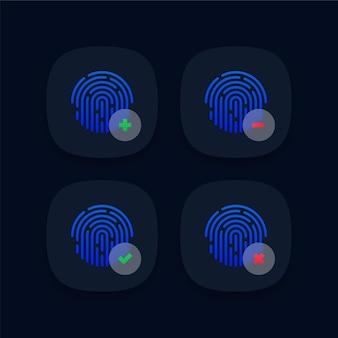 Conjunto de iconos de huellas dactilares