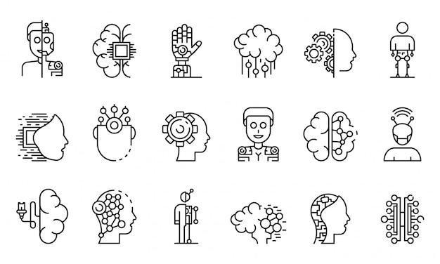 Conjunto de iconos humanoides, estilo de contorno