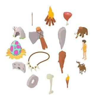 Conjunto de iconos humanos cavernícolas, estilo isométrico