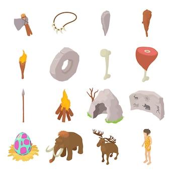 Conjunto de iconos humanos cavernícolas. ilustración isométrica de 16 iconos vectoriales de cavernícola para web