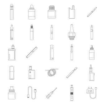 Conjunto de iconos de humor de cigarrillo electrónico