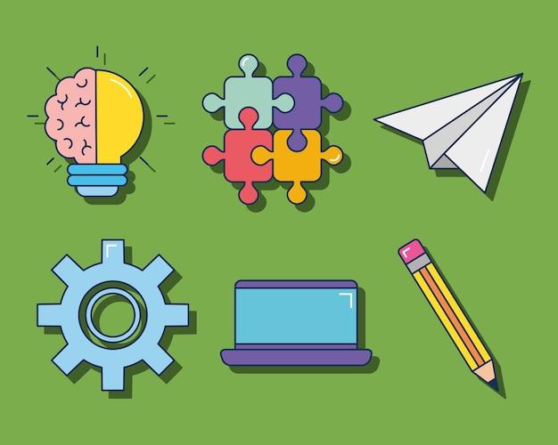 Conjunto de iconos de idea y creatividad