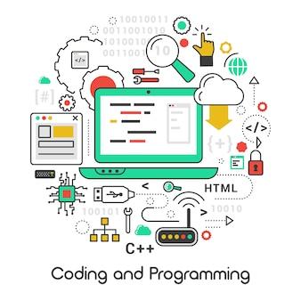 Conjunto de iconos con idiomas de computadora portátil y computadora