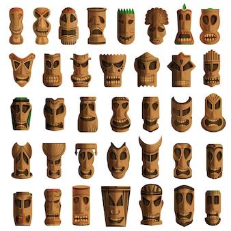 Conjunto de iconos de ídolos tiki. conjunto de dibujos animados de ídolos tiki iconos vectoriales para diseño web