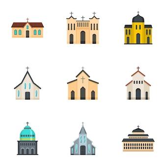 Conjunto de iconos de iglesia, estilo de dibujos animados