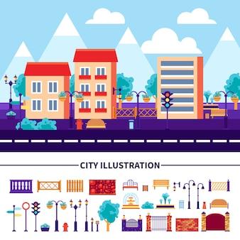 Conjunto de iconos de ilustración de ciudad