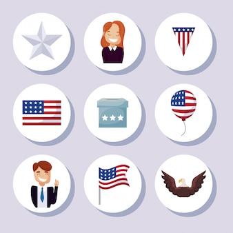 Conjunto de iconos de ilustración de día de presidentes feliz de estados unidos