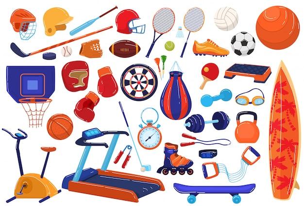 Conjunto de iconos de ilustración de equipo deportivo, colección de deportista de dibujos animados con raqueta de pelota para béisbol de fútbol, juego de fútbol, tenis