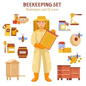 Conjunto de iconos de ilustración de miel de apicultura