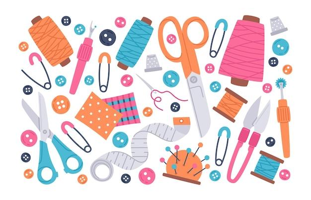 Conjunto de iconos de ilustración de vector de suministros de doodle de costura de costura de costura