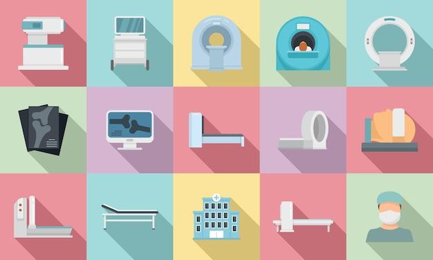 Conjunto de iconos de imágenes de resonancia magnética.