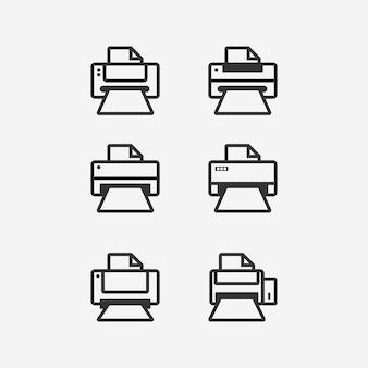 Conjunto de iconos de impresora