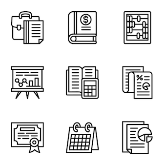 Conjunto de iconos de impuestos. esquema conjunto de 9 iconos de impuestos