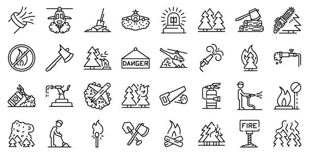 Conjunto de iconos de incendios forestales, estilo de contorno