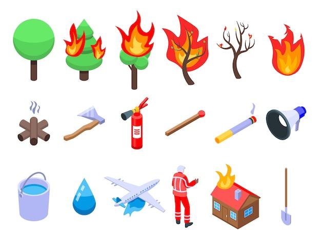 Conjunto de iconos de incendios forestales, estilo isométrico