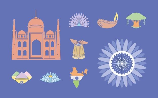 Conjunto de iconos de la india
