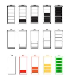 Conjunto de iconos de indicador de batería aislado aislado en un fondo transparente