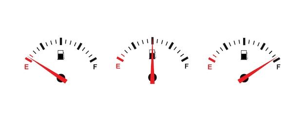 Conjunto de iconos de indicador de combustible de diseño simple