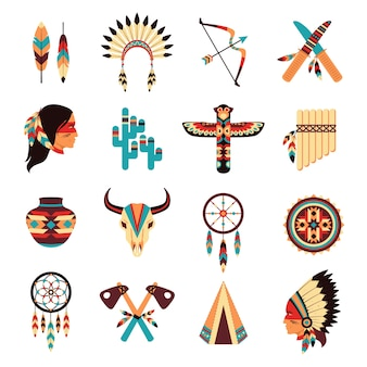 Conjunto de iconos indígenas étnicos americanos
