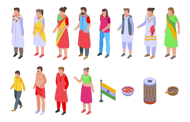 Conjunto de iconos de indios. conjunto isométrico de iconos de indios para web aislado sobre fondo blanco