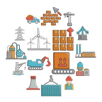 Conjunto de iconos de la industria, estilo de dibujos animados