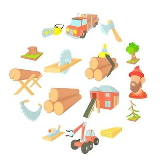 Conjunto de iconos de la industria de la madera, ctyle de dibujos animados
