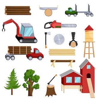 Conjunto de iconos de la industria de la madera, estilo de dibujos animados