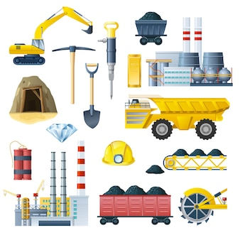 Conjunto de iconos de la industria minera
