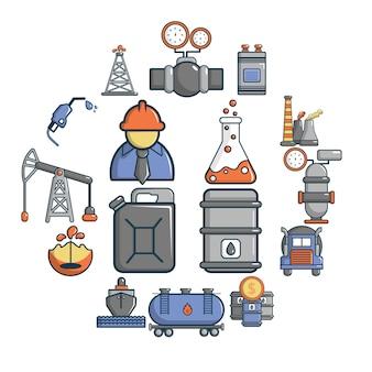 Conjunto de iconos de la industria del petróleo, estilo de dibujos animados