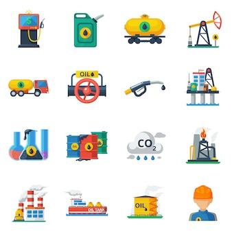 Conjunto de iconos de la industria de petróleo