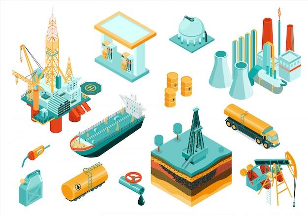 Conjunto de iconos de la industria petrolera aislada e isométrica con diferentes elementos y equipos que describen la industria