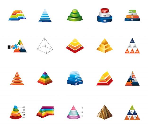 Conjunto de iconos de infografía pirámide aislada