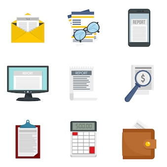 Conjunto de iconos de informe de gastos