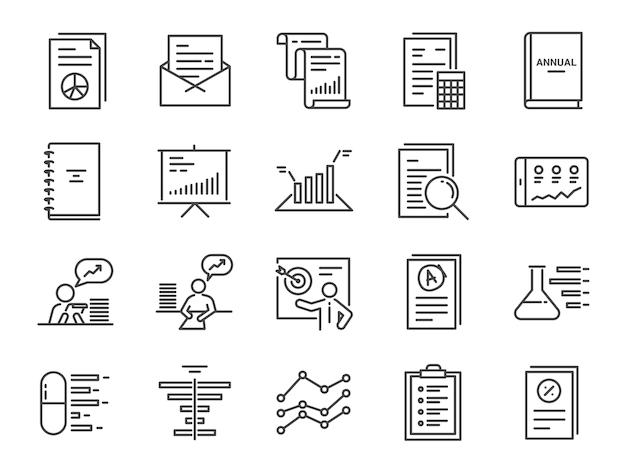 Conjunto de iconos de informe