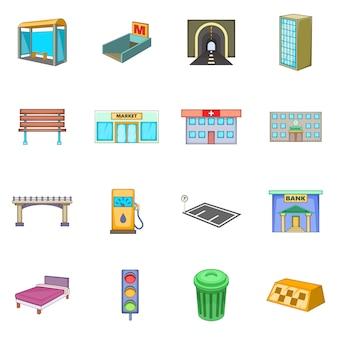 Conjunto de iconos de infraestructura de la ciudad
