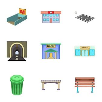 Conjunto de iconos de infraestructura urbana, estilo de dibujos animados