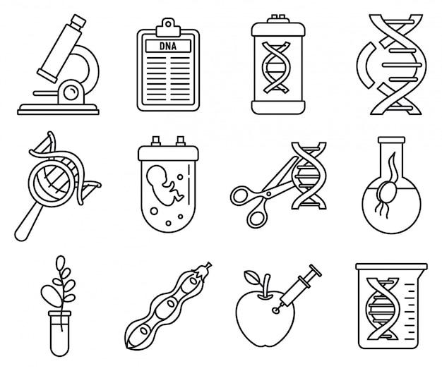 Conjunto de iconos de ingeniería genética de adn, estilo de contorno